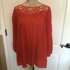 2X Hannah Plus Size Lace accent Blouse